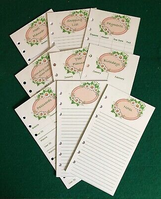 Personal Filofax Paper Set - Shopping, Payments, Passwords, Birthdays - 60 Pages