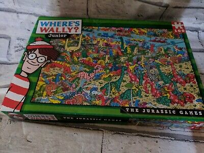 ❓WHERE'S WALLY JUNIOR Jigsaw Puzzle 100 pc THE JURASSIC GAMES one piece  missing