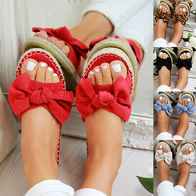 New Womans Slip On Sandals Bow Flat Mule Summer Sliders Espadrille Shoes Sizes