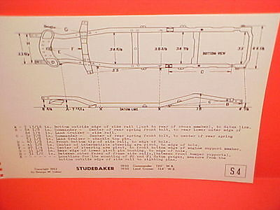1950 Studebaker Commander Convertible Coupe Land Cruiser Frame Dimension Chart