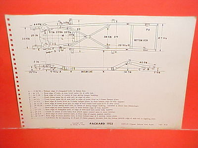 1955 Packard Clipper Deluxe Super Panama Coupe Sedan Frame Dimension Chart 55