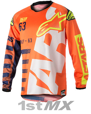 2018 Alpinestars Racer BRAAP Orange Blue White MX Motocross Jersey Youth Kids XL