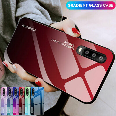 Hot Gradient Tempered Glass Hybrid Case For Huawei P3 P20 Mate 20 Pro/Lite Cover