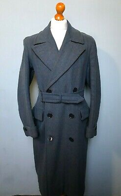 . Vintage 1940's blue belted checked double breasted overcoat size 40 42