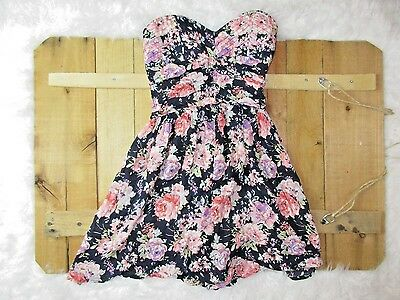 Zinga Sweetheart Cut Strapless Floral Navy and Pink Girly Babydoll Top size S
