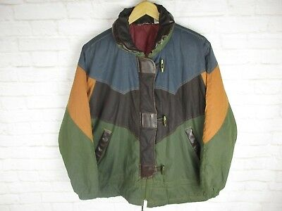 Vintage Men's size Medium Insulated Coat Green Navy Orange Hood Closure