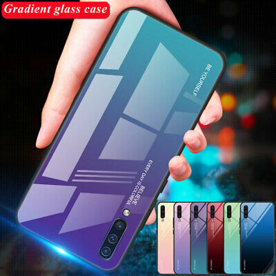 Gradient Tempered Glass Case for Samsung Galaxy A7 A6 A8 J6 2018 A50 Back Cover