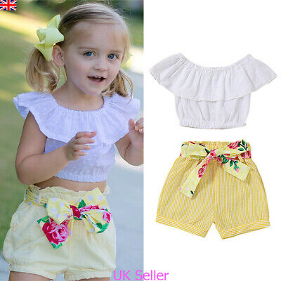 Kids Baby Girls Ruffle Crop Tops Shorts Pants Summer Beach Outfits Clothes Set