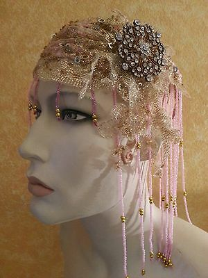 Gatsby 20's Pink Gold Crystal Beaded Sequin Lace Flapper Headpiece Hat Bridal