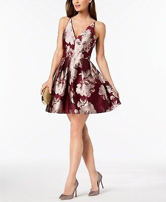 a8bf7951 $280 Xscape Women's Red Floral Printed V-Neck Fit & Flare Evening Dress  Size 10