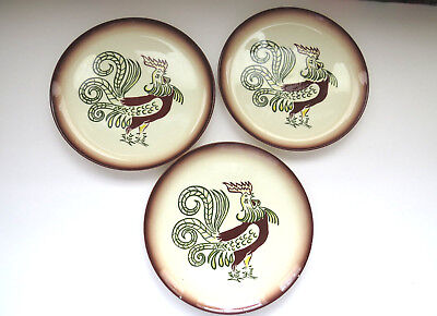 THREE Vintage Brock of California Dinner Plates Chanticleer Farmhouse Rooster