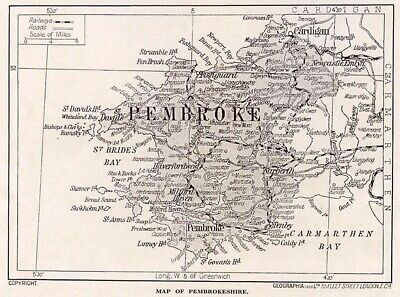 1923 map of Wales: old county of Pembroke, ready-mounted antique print SUPERB
