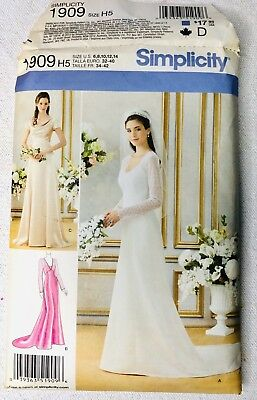 Simplicity 1909 Misses Size 6-14 Elegant Lined Wedding Dress & Bridesmaid Gowns