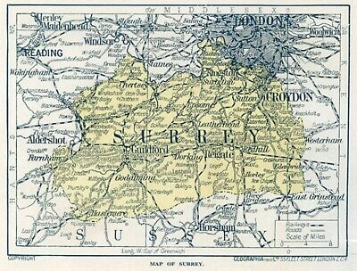 1923 map of England: Surrey antique ready-mounted print SUPERB