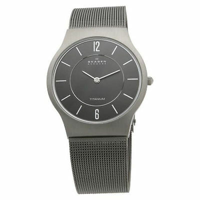 SKAGEN 233LTTM Mens/Gents ULTRA SLIM TITANIUM Watch Grey with Mesh Strap  NEW
