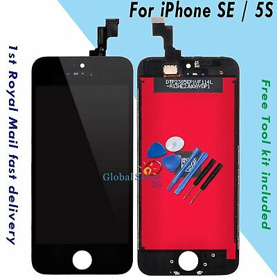 For iPhone SE 5S LCD Display Touch Screen Digitizer Black + Frame Replacement UK