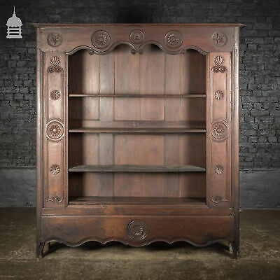 19th C Carved Dark Oak Continental Pantry Shelves Bookcase