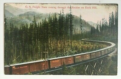 RR Postcard Great Northern GN Freight Train coming through Rockies on Essex Hill