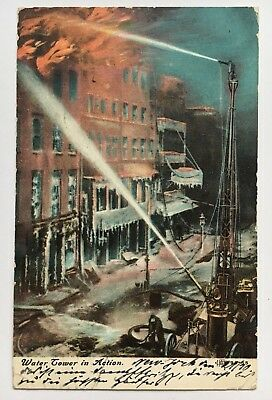 1908 Postcard Vintage Fire Department Water Tower in Action (Ill. Postcard Co.)