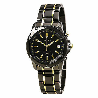 *BRAND NEW* Seiko Men's  Perpetual Calendar Black Ion-Plated Watch SNQ045