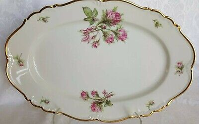 "Edelstein Bavaria Maria-Theresia Moss Rose 14,5"" x 9"" Oval Platter Pink Roses"