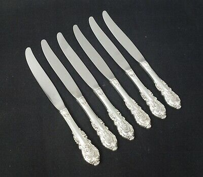Vintage Set 6 Wallace Sterling Silver Sir Christopher Dinner Knives No Monograms