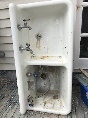 Antique Cast Iron & Porcelain Double Deep/Shallow Farm Sink