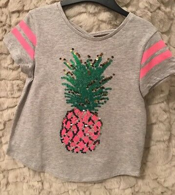 Girls Sequin Pineapple T Shirt With Back Detail Age 5-6 Years