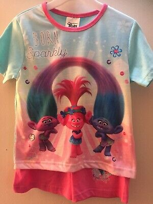 Born Sparkly Trolls Short Sleeve Amd Shorts Pyjama Set Age 9-10 Years