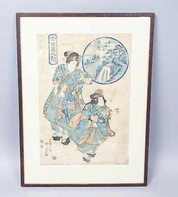 Antique Early 19c Eisen Ikeda Japanese Ukiyo-e Woodblock Print of Two Geishas