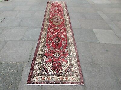 Old Traditional Hand Made Persian Oriental Red Wool Long Narrow Runner 407x85cm