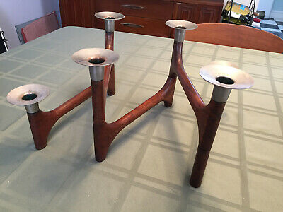 Mid Century Modern Danish Teak/Brass Candle Holder