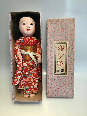 Rare 1940's Japanese ichimatsu Gofun Friendship Doll in Original Box