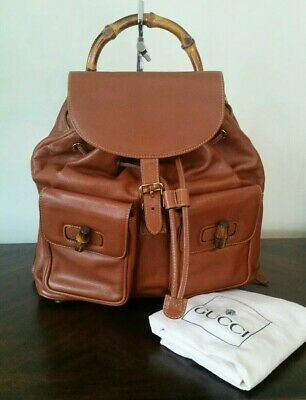 dd12c7f074a Vintage Gucci Bamboo Brown Leather Medium Backpack Hand Bag Vintage  Authentic