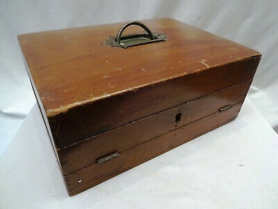 Antique Victorian Wooden Writing Box Slope Lap Desk Stationary Box Collectibles""
