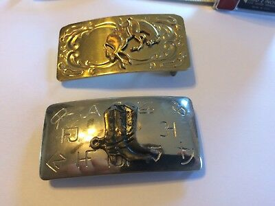 2 Vintage Belt Buckles-Western Style-Chambers  Company-HORSE/BOOTS