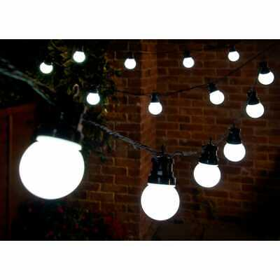 Solar Power Globe String 20 LED Garden Patio Decking Gazebo Lights Fence Hanging