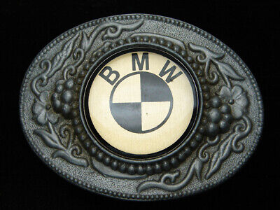 QK09124 *NOS* VINTAGE 1970s **BMW** CAR COMPANY LOGO PEWTER BELT BUCKLE
