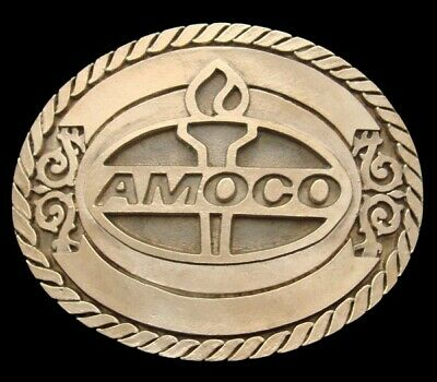 Qh28111 *Nos* 1981 ***Amoco*** Flaming Torch Logo Solid Brass Oilfield Buckle