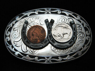 RA01147 VINTAGE 1970s **INDIAN HEAD PENNY & BUFFALO NICKEL COINS** BELT BUCKLE