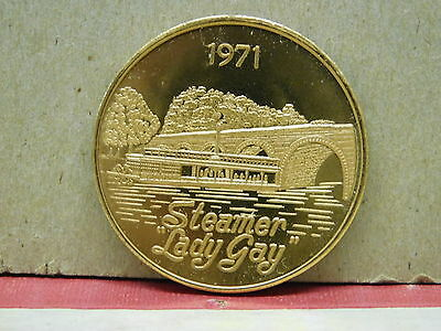 Steamer Lady Gay USA  RED ROSE COIN CLUB 1971 MEDALLION Medal Coin ~