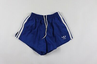 3f9295da58 Vintage 80s New Adidas Mens Small Spell Out Trefoil Striped Soccer Shorts  Blue