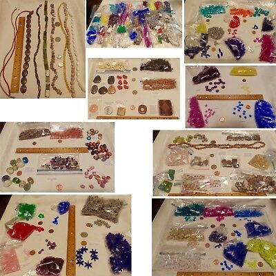 Bead Asst Mix Glass Plastic Stone Chips Strands Colors Shapes Sizes FREE SHIP
