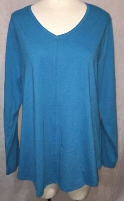 38afcedf JMS Just My Size Plus 2X 18W - 20W Shirt Turquoise Blue Long Sleeve Tee Knit