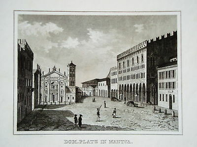 Mantua  Dom Cathedrale  Italien Italia echter alter  Stahlstich 1842