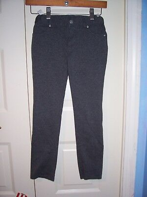 Faded Glory girl's gray adjustable waist leggings zip,pockets,straight leg 7-8