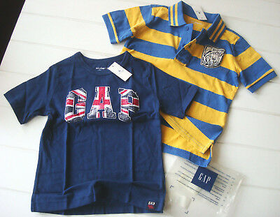 2 PCS NWT Boy 4 4T Baby GAP Shirt Lot Striped Polo Shark Patch British Flag Blue
