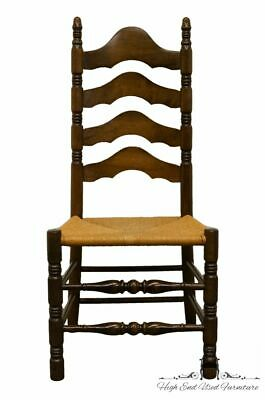 ETHAN ALLEN Antiqued Pine Old Tavern Ladderback Dining Side Chair w. Rush Seat