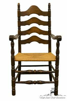 ETHAN ALLEN Antiqued Pine Old Tavern Ladderback Dining Arm Chair w. Rush Seat