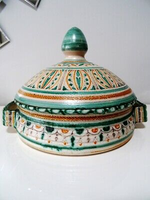 antique TAGINE stunning RARE HANDLED signed ARABIC large MOROCCAN COOKWARE chef